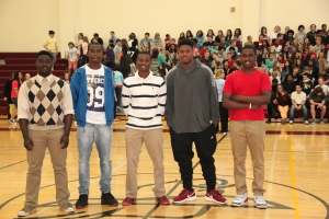 Josh, John, Demar, Zach, and Dre before speaking to students at CHMS.