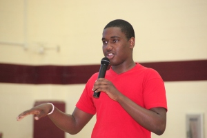 RISE member Dre Goode-Legette talking to students at CHMS.