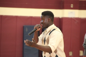 Josh Amoako sharing words of inspiration with CHMS students.
