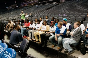 Philadelphia 76ers forward Thaddeus Young spending time with RISE before Bobcats 76ers game.